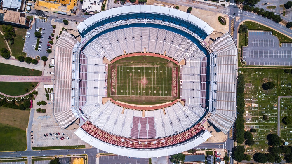 aerial view of football stadium