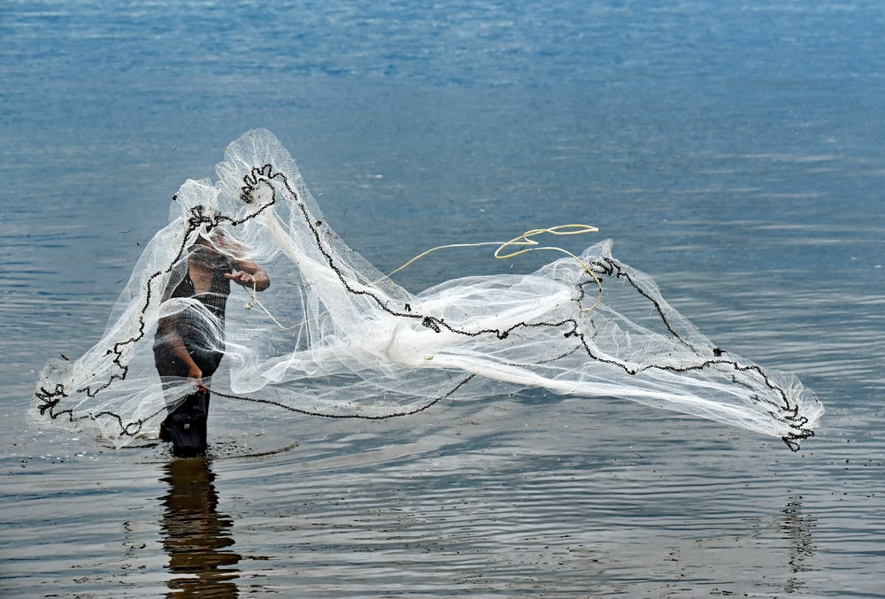 person throwing white fish net on body of water