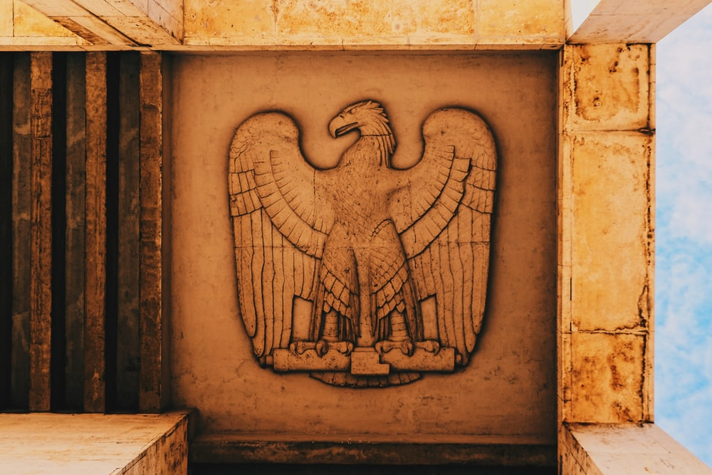 eagle embossed on brown wall