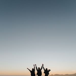 silhouette photography of persons raising hands while standing on island