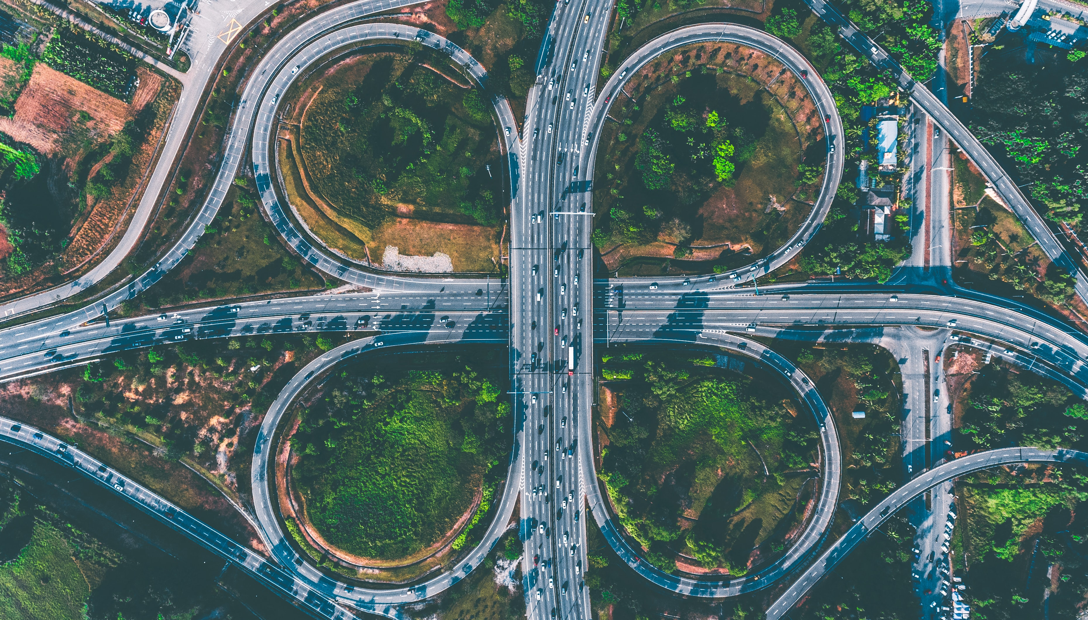 bird's eye view of freeway