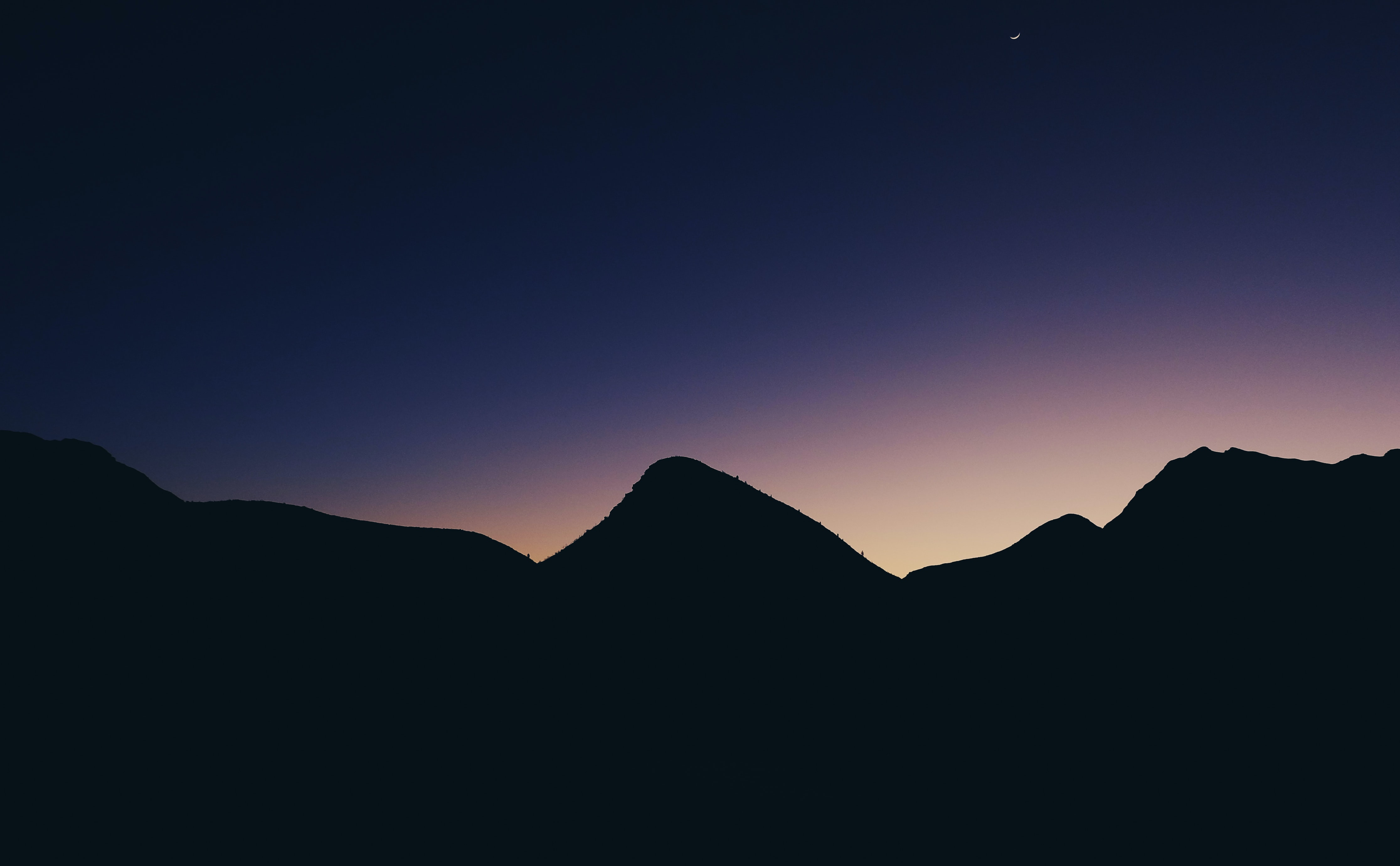 silhouette of mountain hill