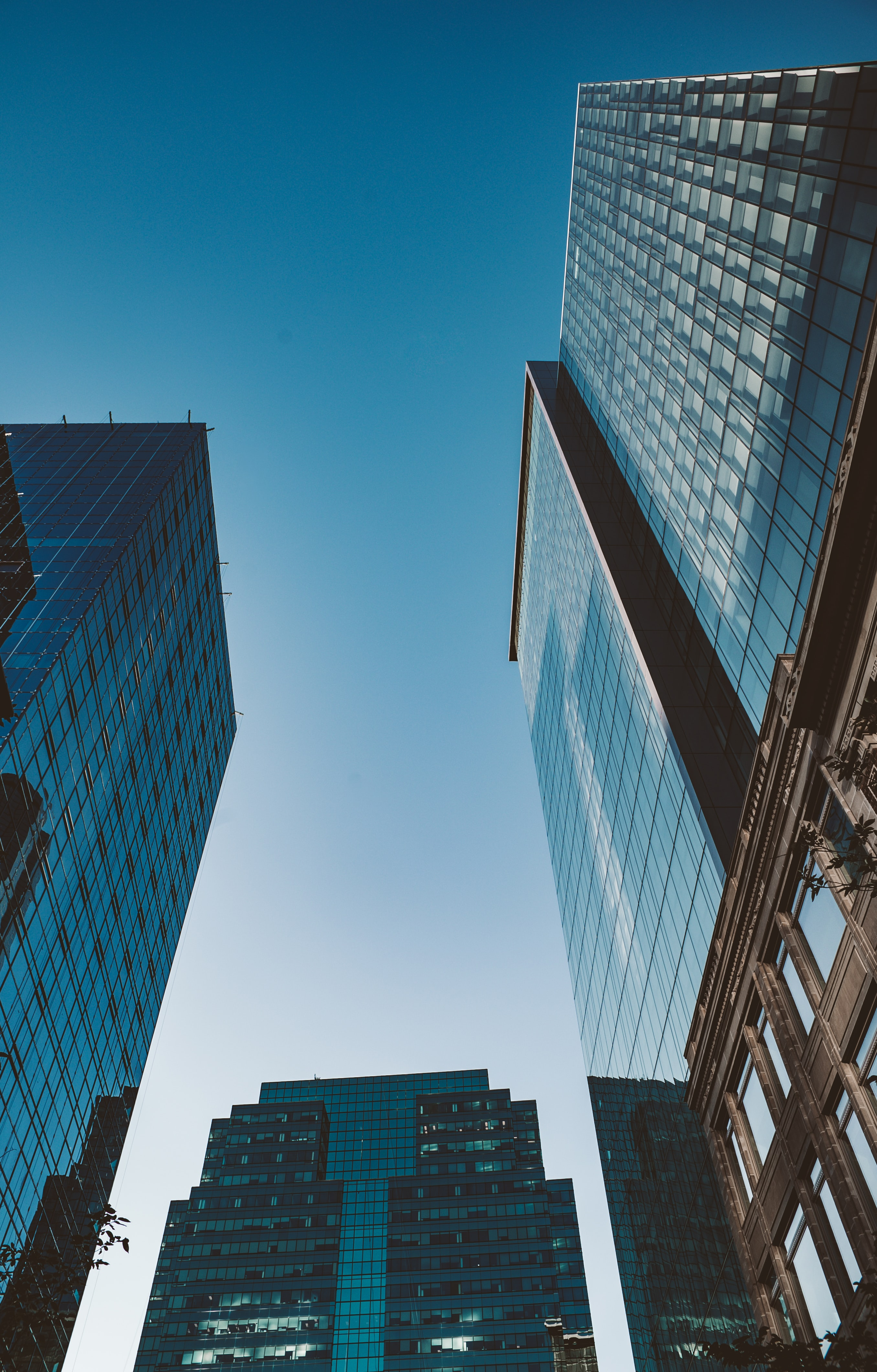 low angle photography of high-rise buildings under calm sky