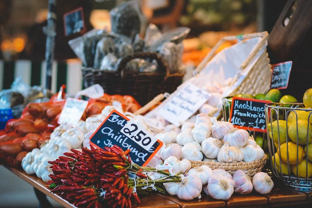 chilis and garlic bulbs