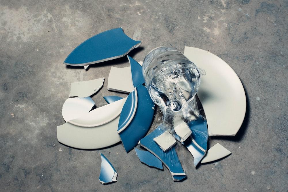 broken ceramic plate on floor