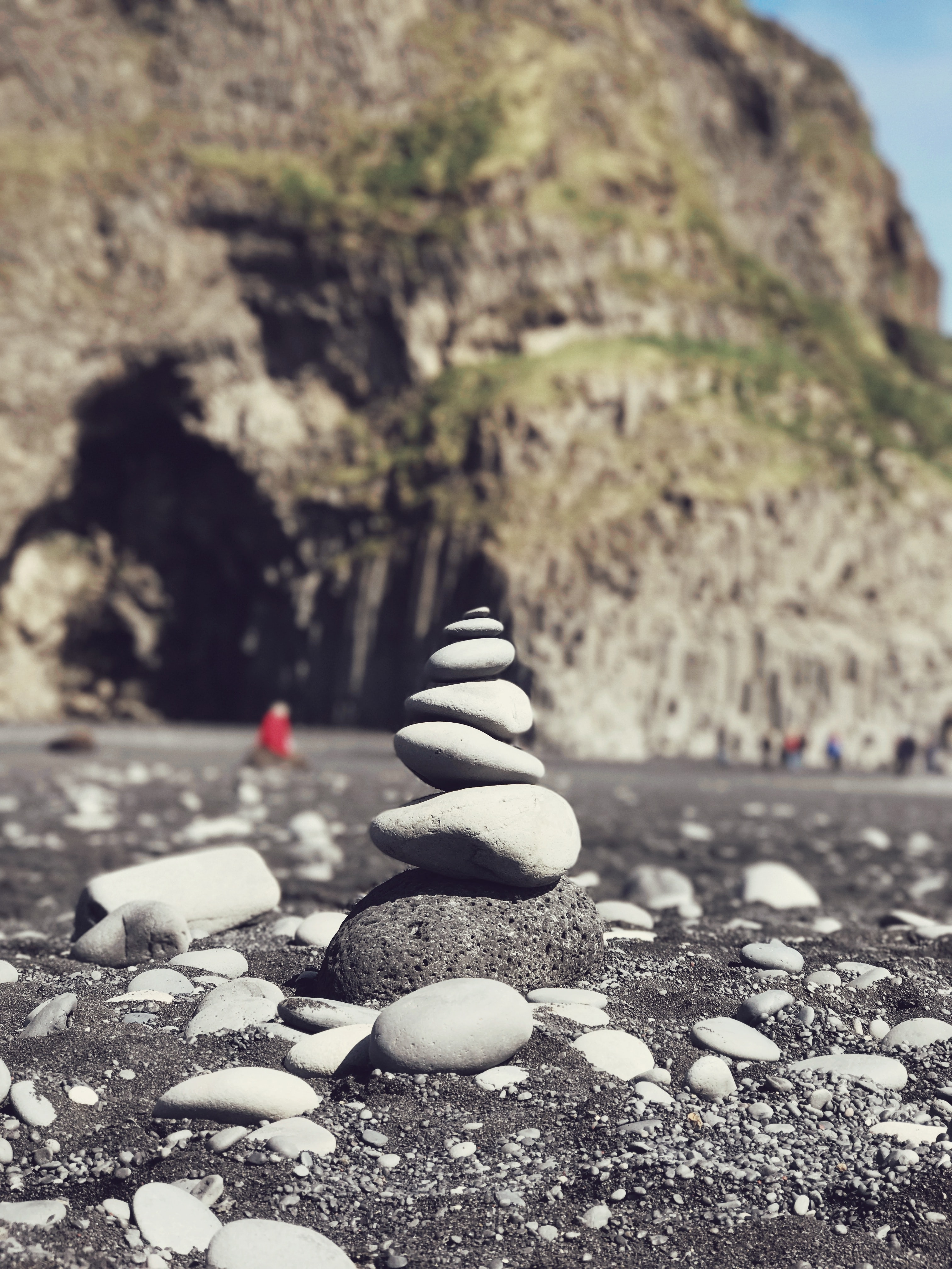 stack of stone at shore near rockways