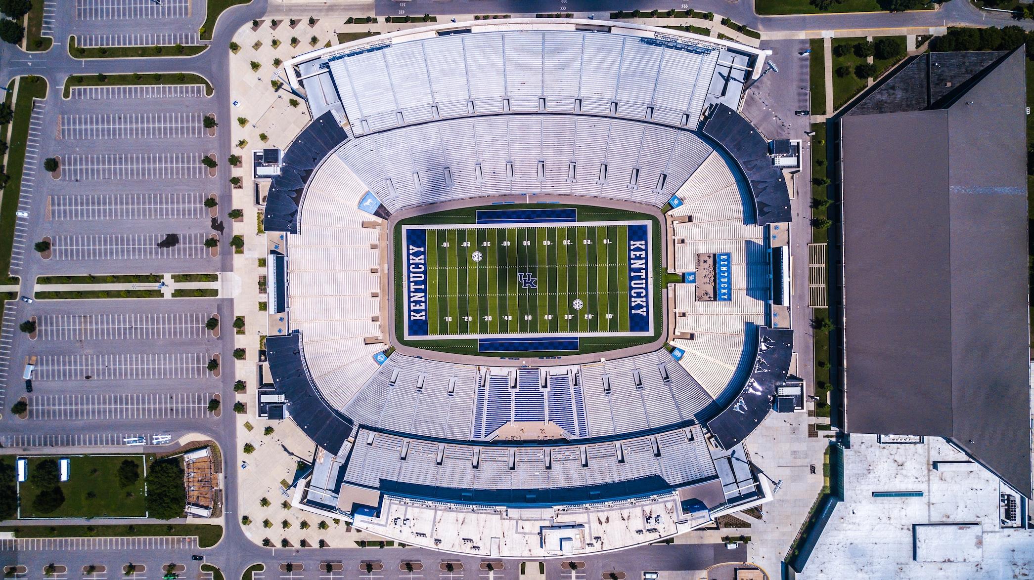 arial view of the Lexington, KY football stadium