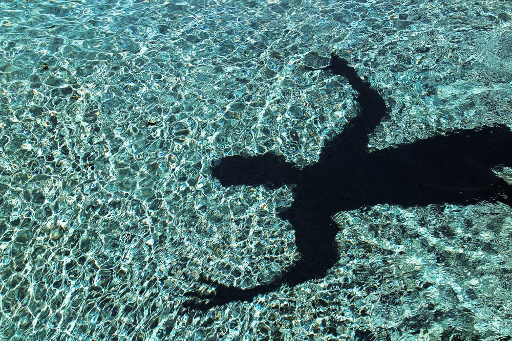 person's shadow reflecting on water