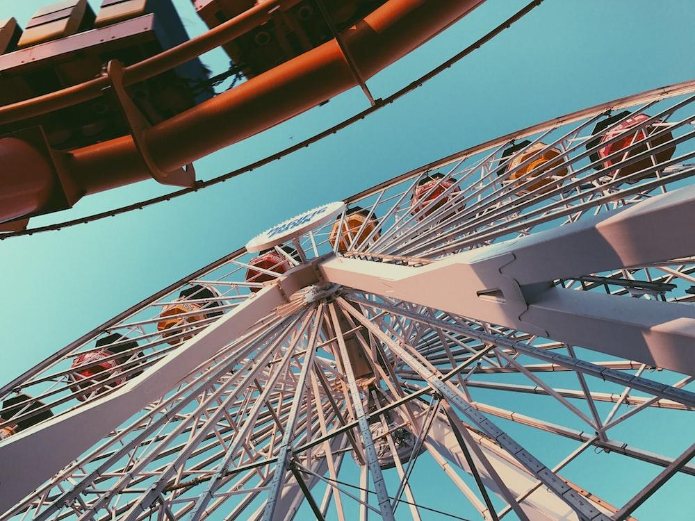 worm's eyeview of ferris wheel