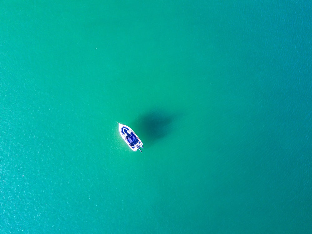 aerial photography of white sailing boat