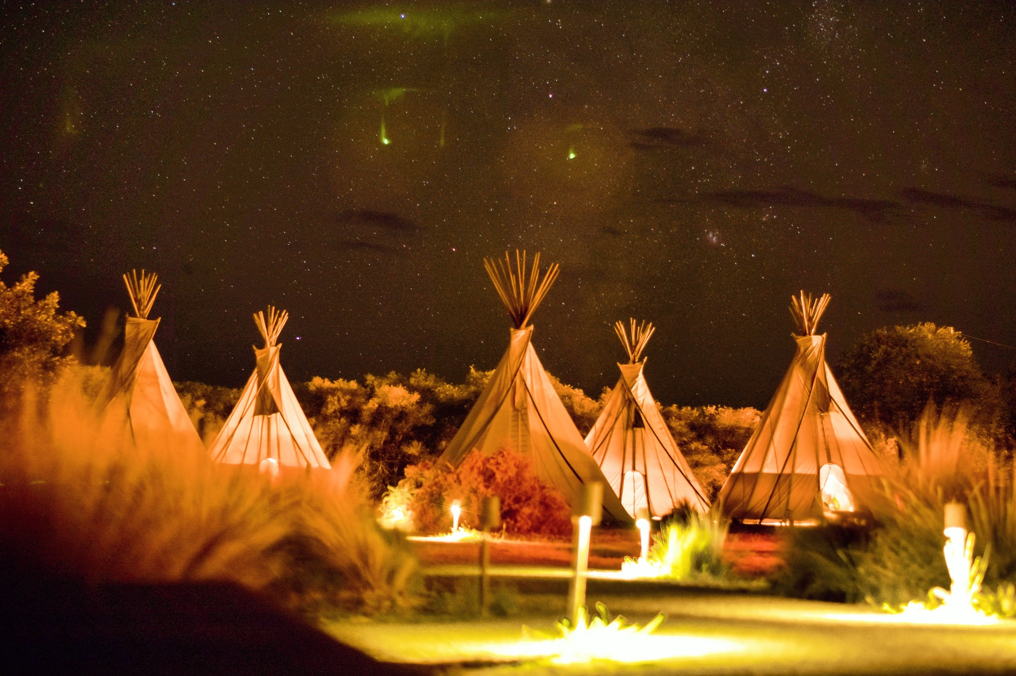 Under a starry night at El Cosmico in Marfa Texas