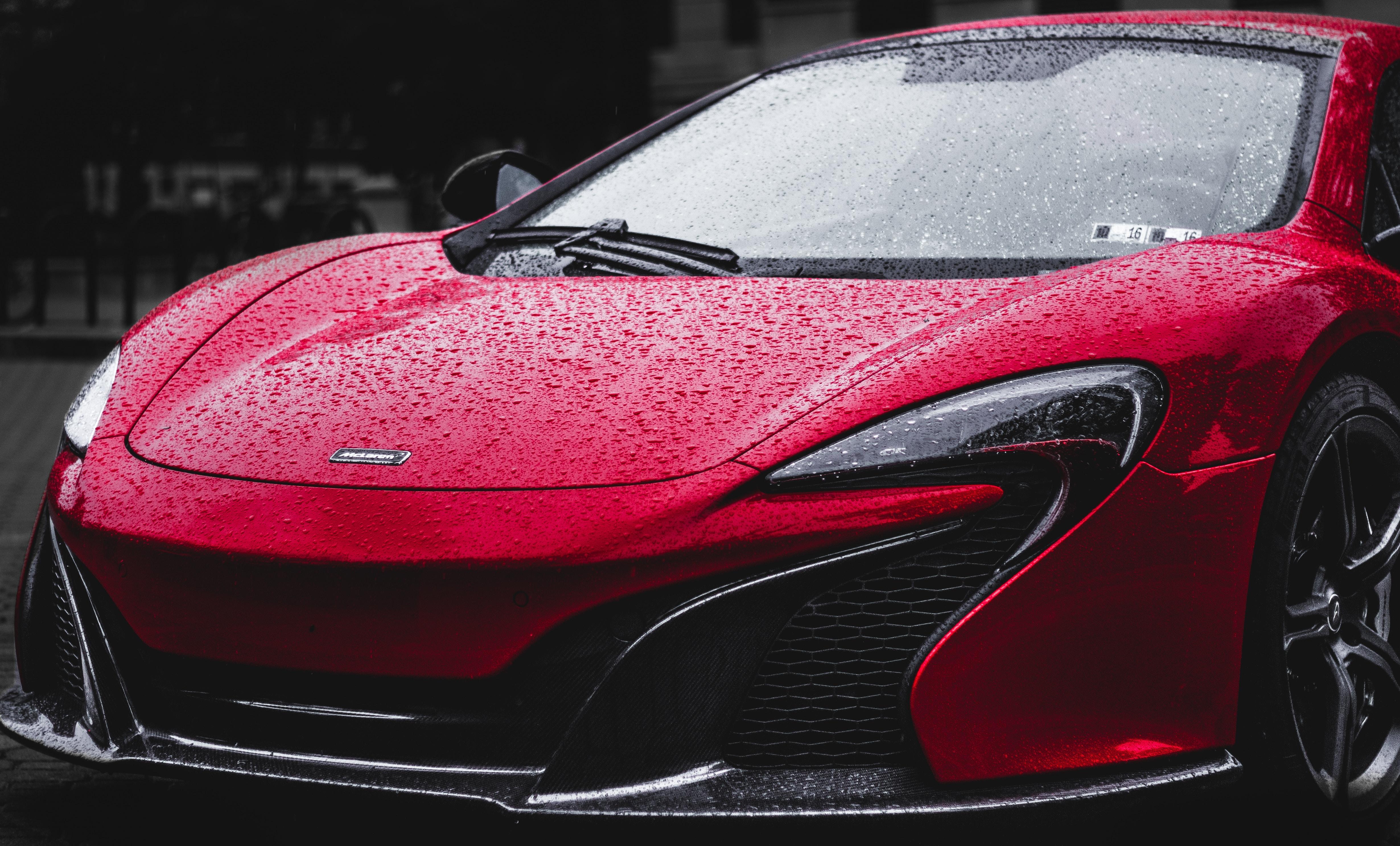 red sports car hood
