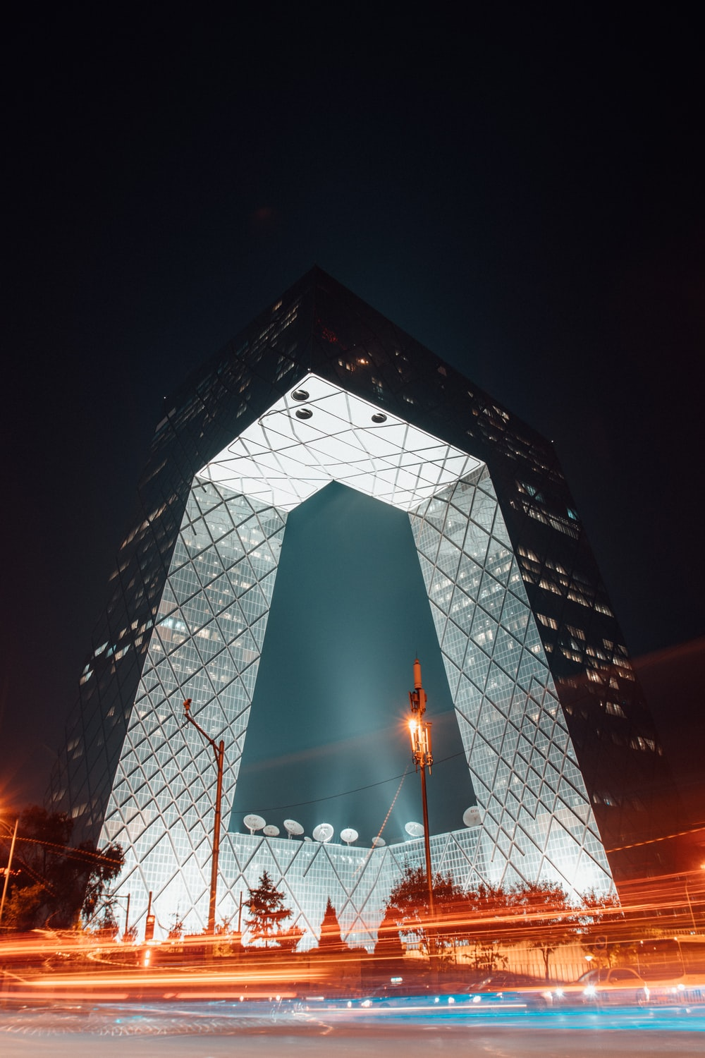 curtain wall building on time lapse photography