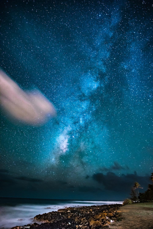 sea shore under night sky