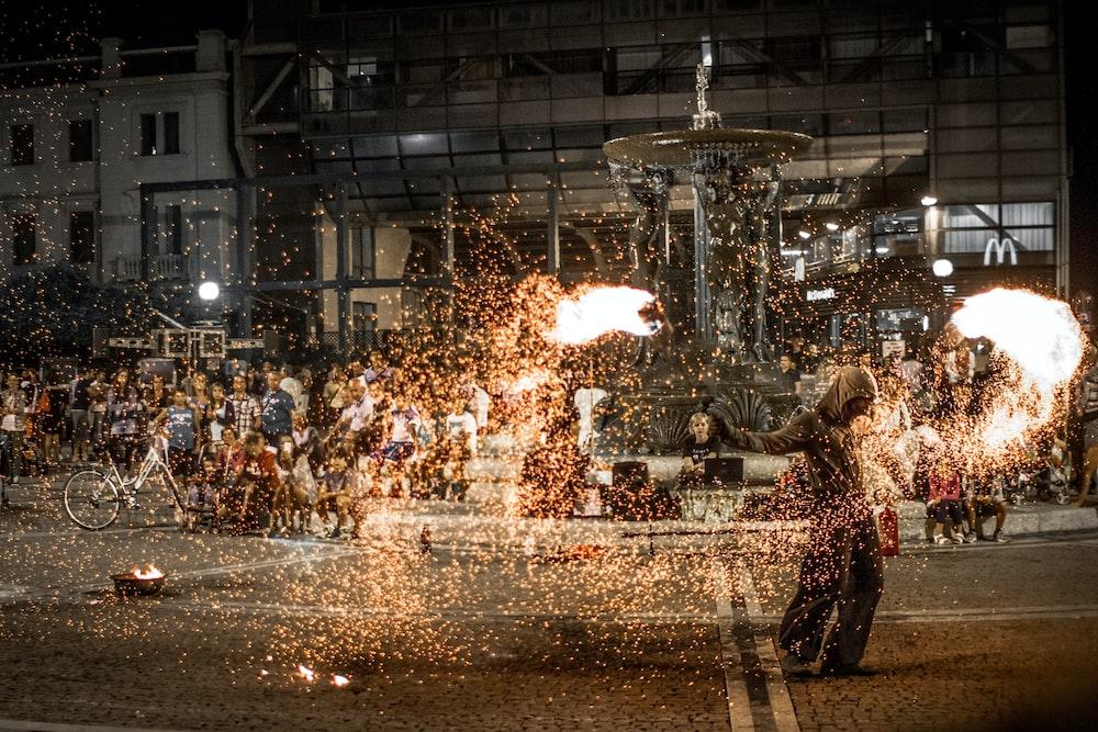 steel wool photography of people