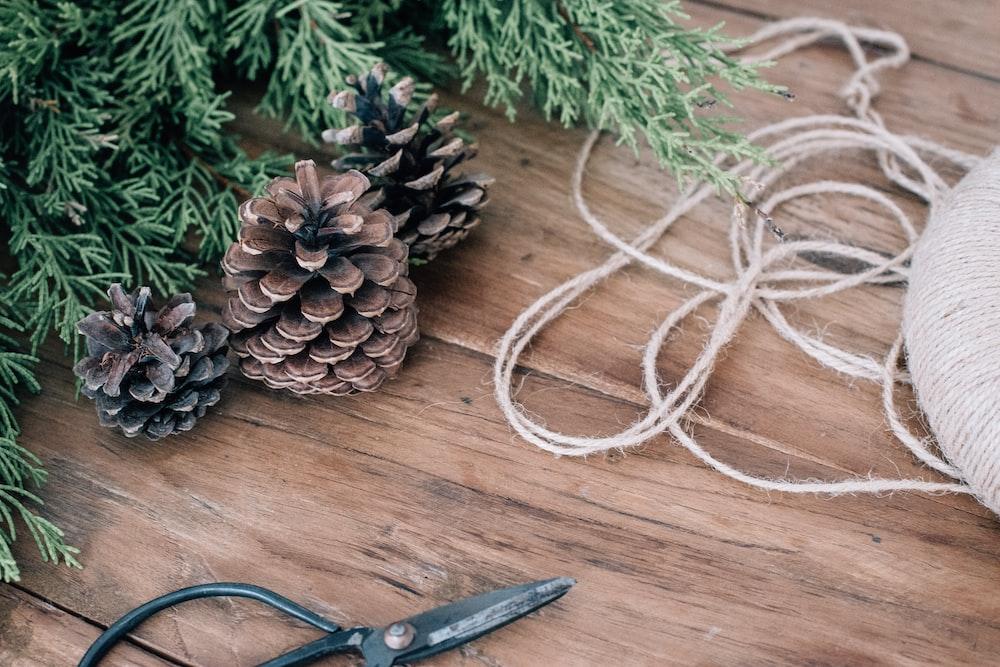 pine cones beside Christmas tree