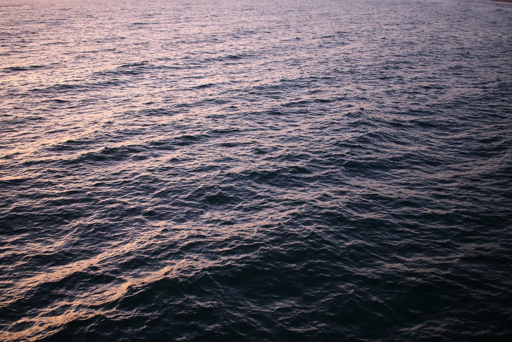 body of water at sunset
