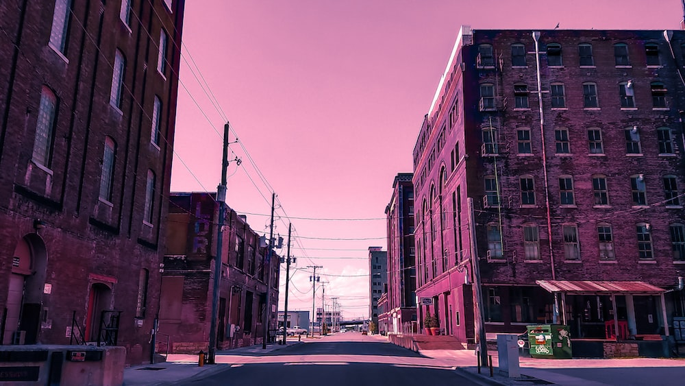 pink painted buildings illustration