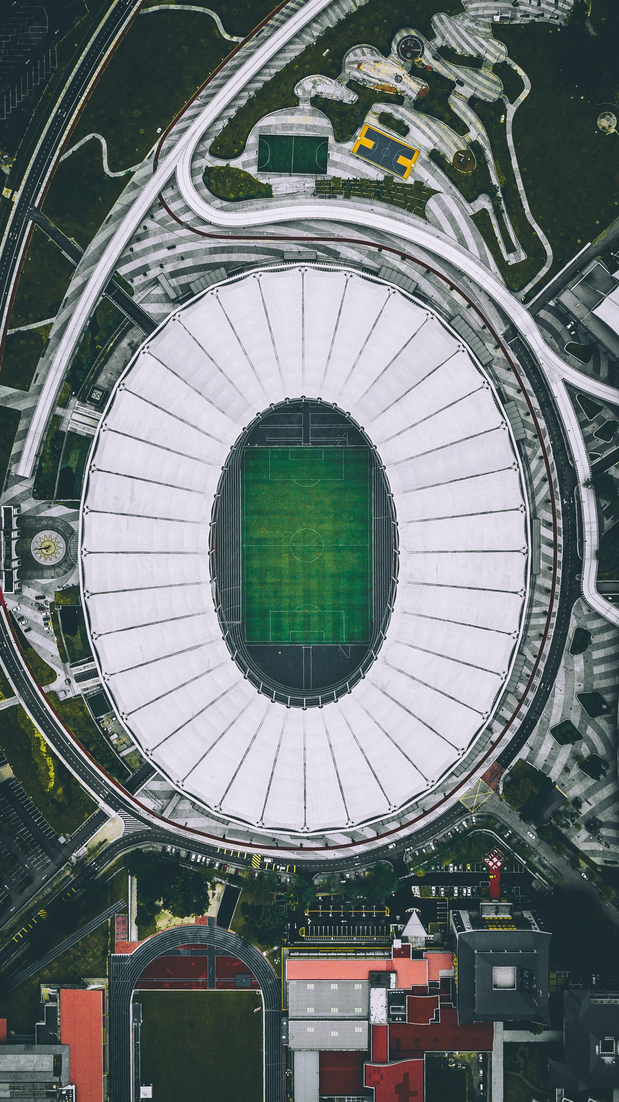 aerial photo of football field