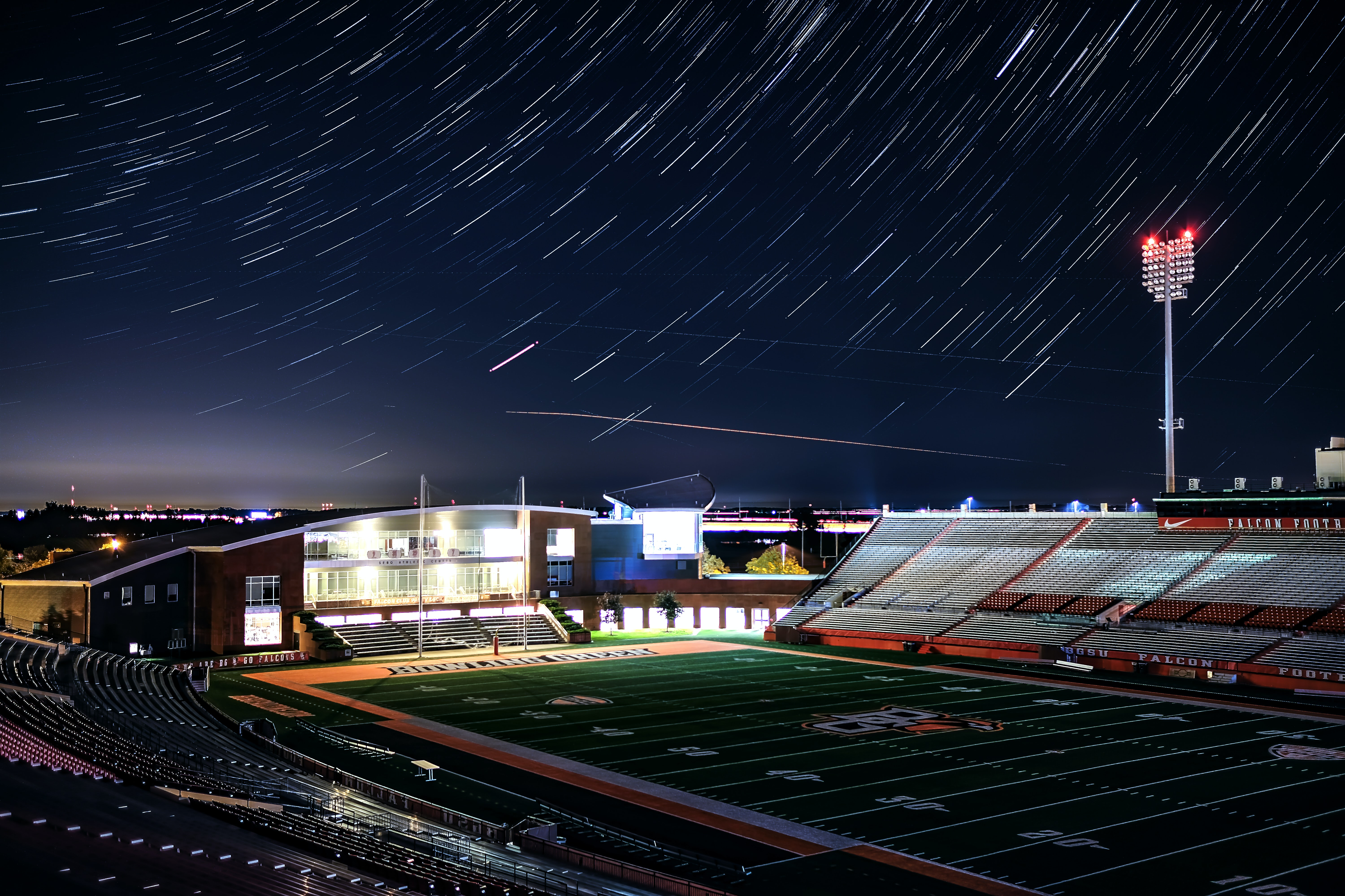 time lapse photography of football field