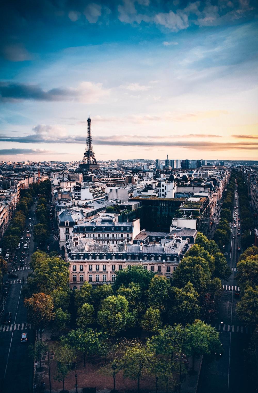 bird's-eye view photography of Eiffel Tower under cloudy sky