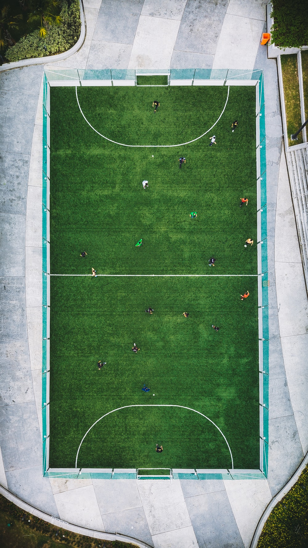 aerial photography of people playing soccer