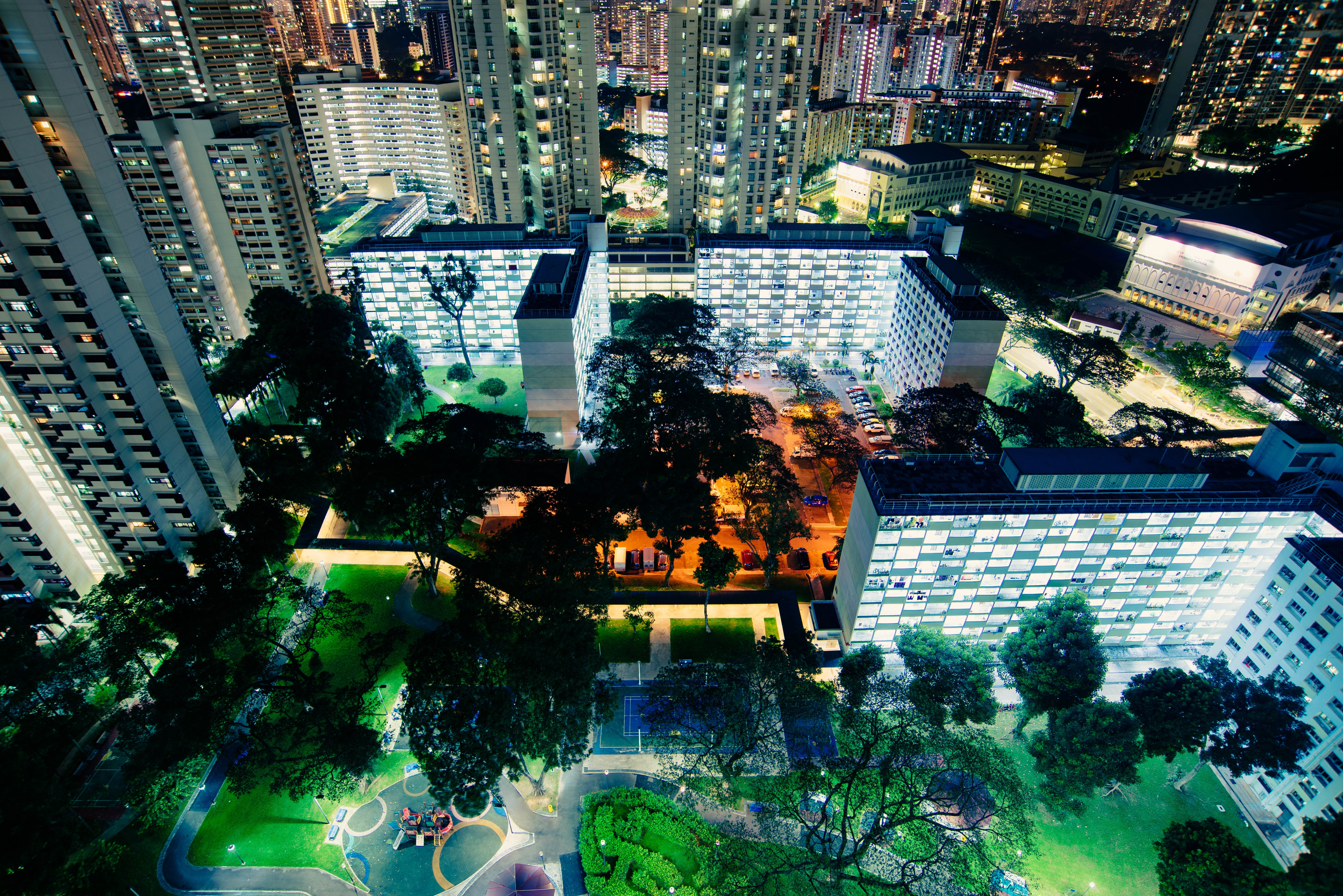 bird's eye view photography of lighted city buildings