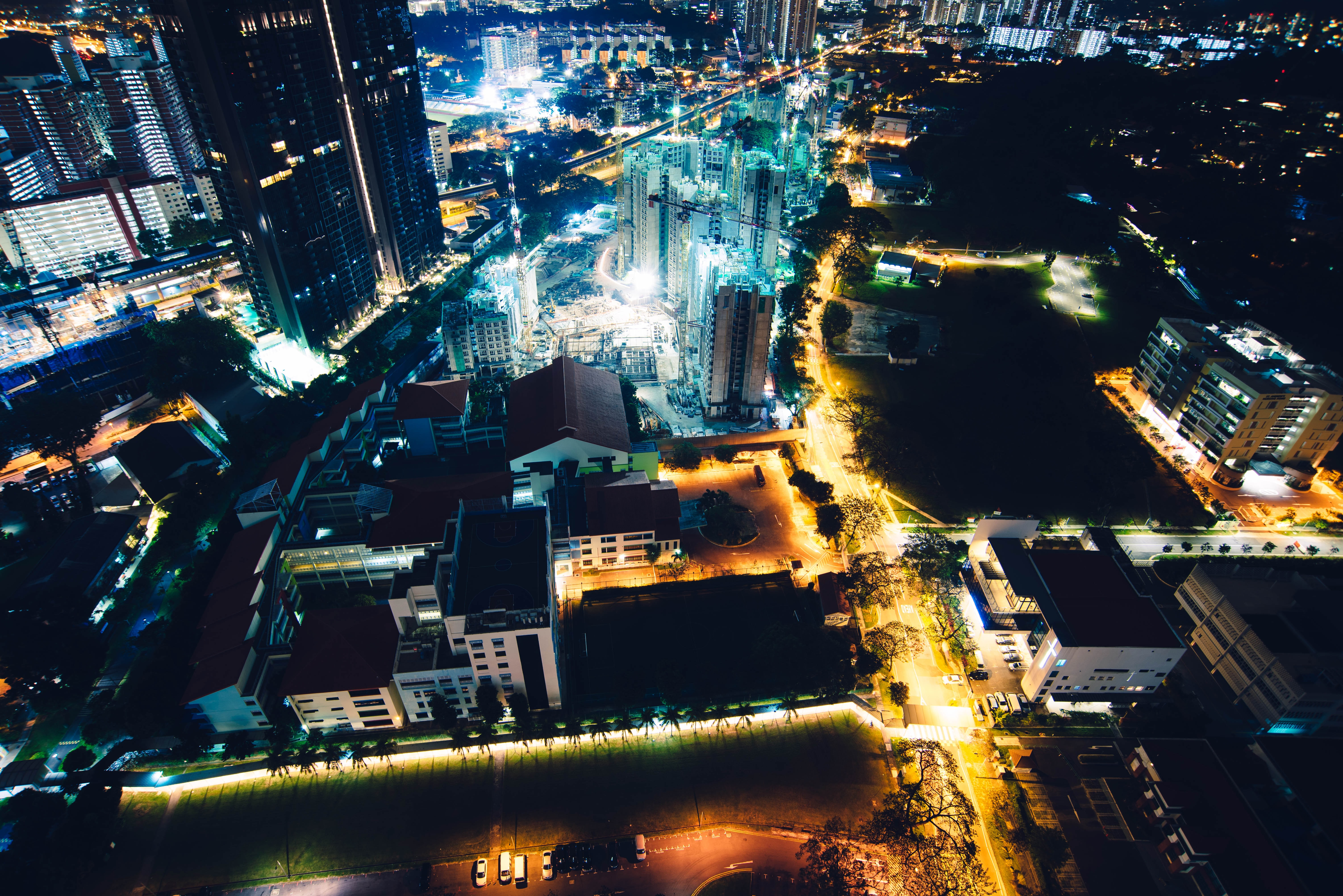 bird's eye view photo of cityscape during nighttime