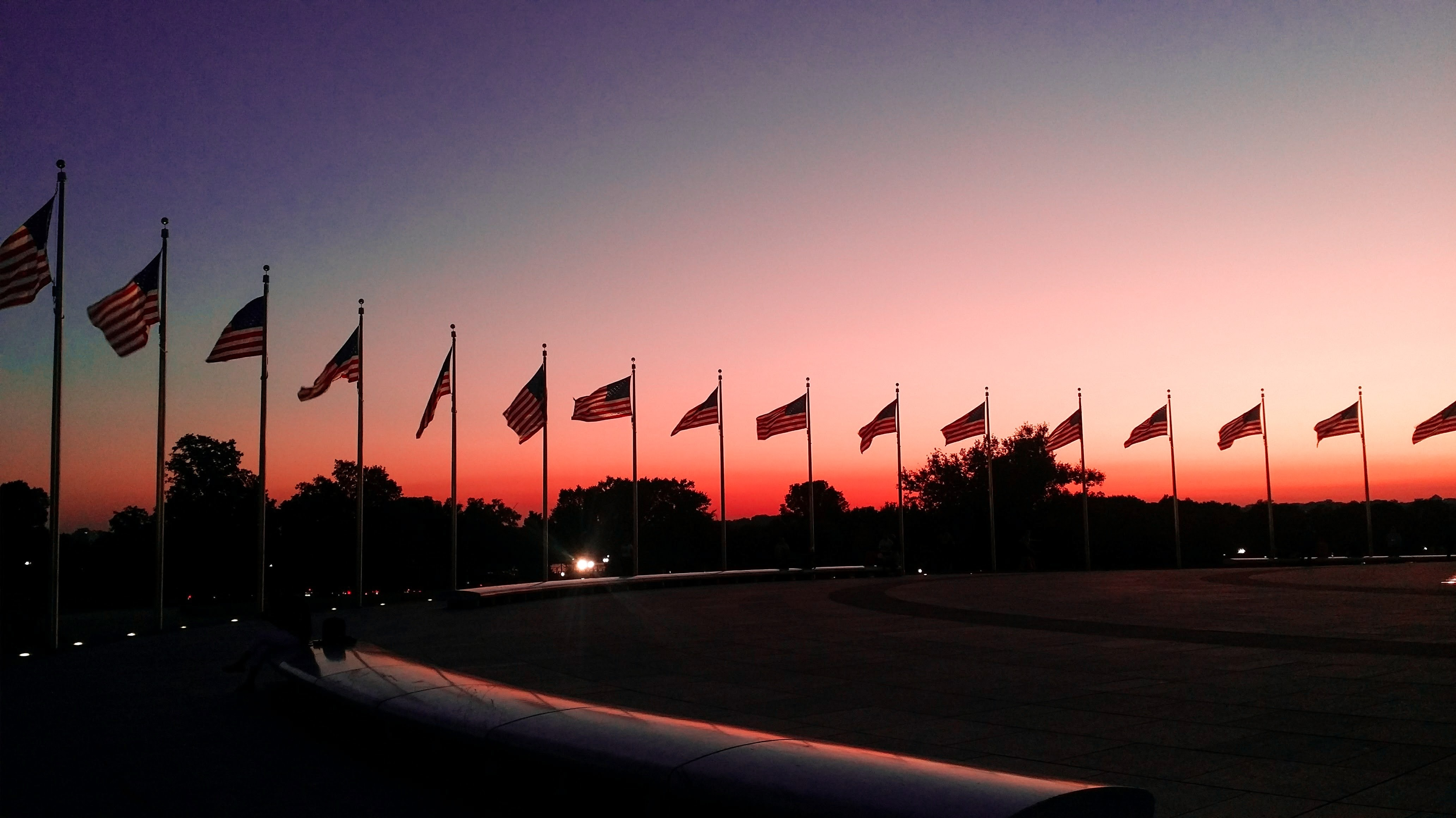 silhouette of flags