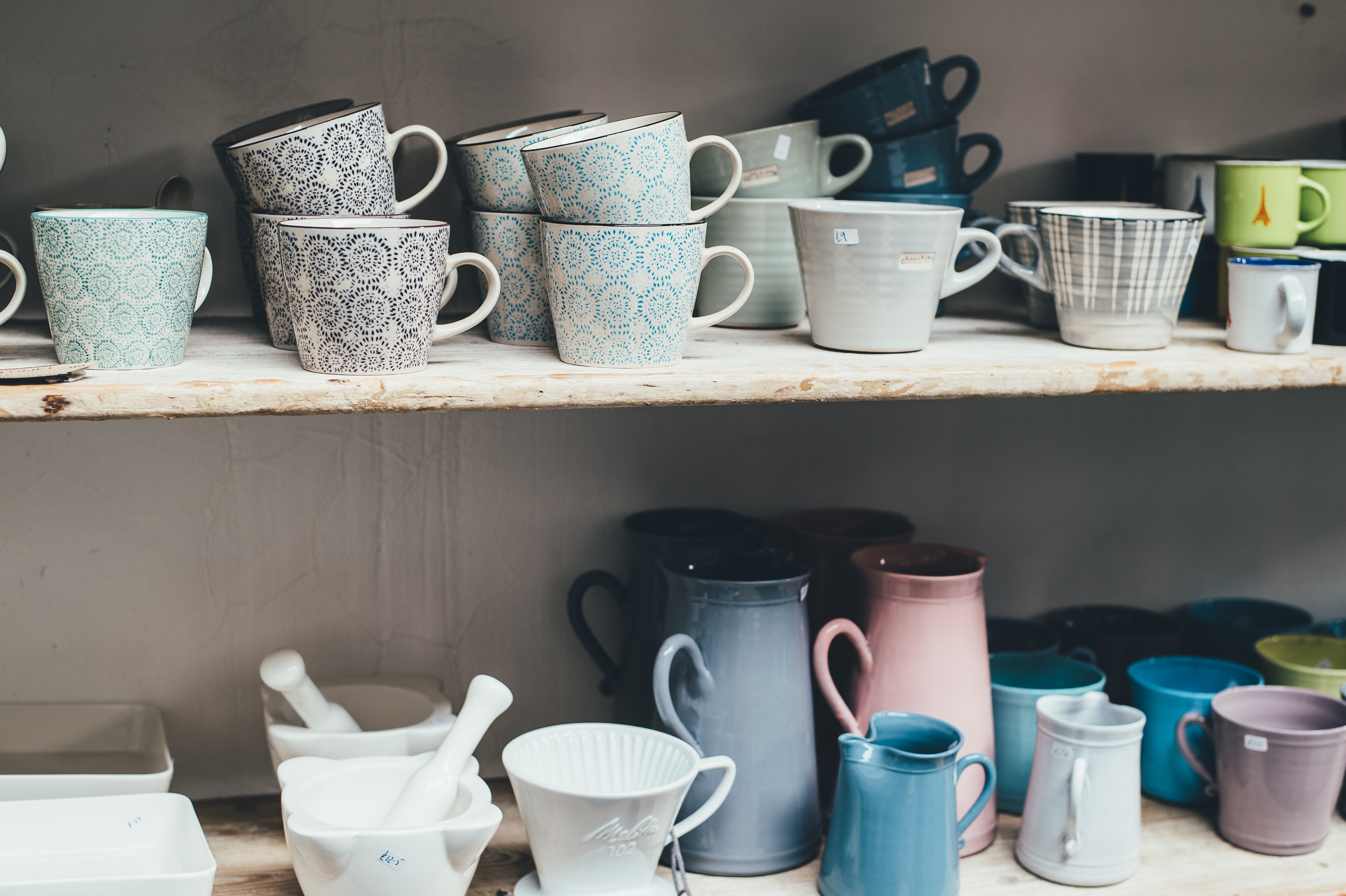 white ceramic mortar and pestle