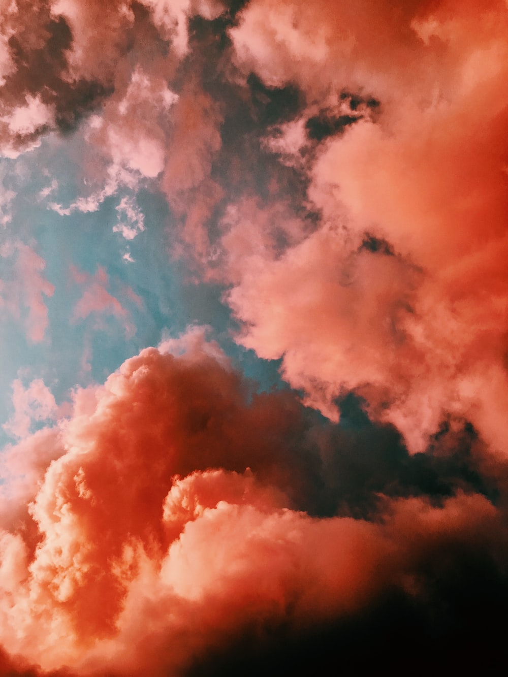 orange smoke on blue background