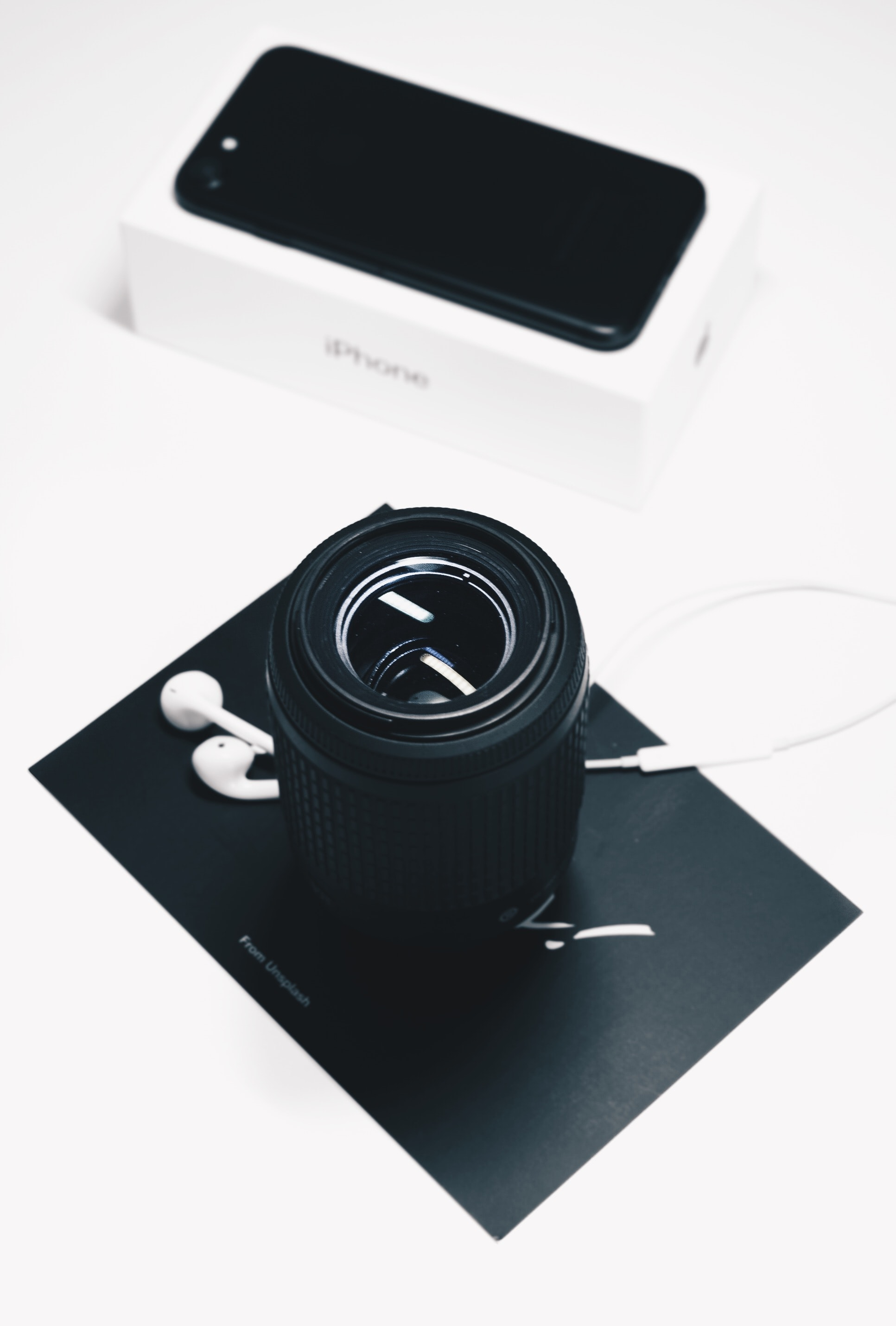 black zoom lens and iPhone box