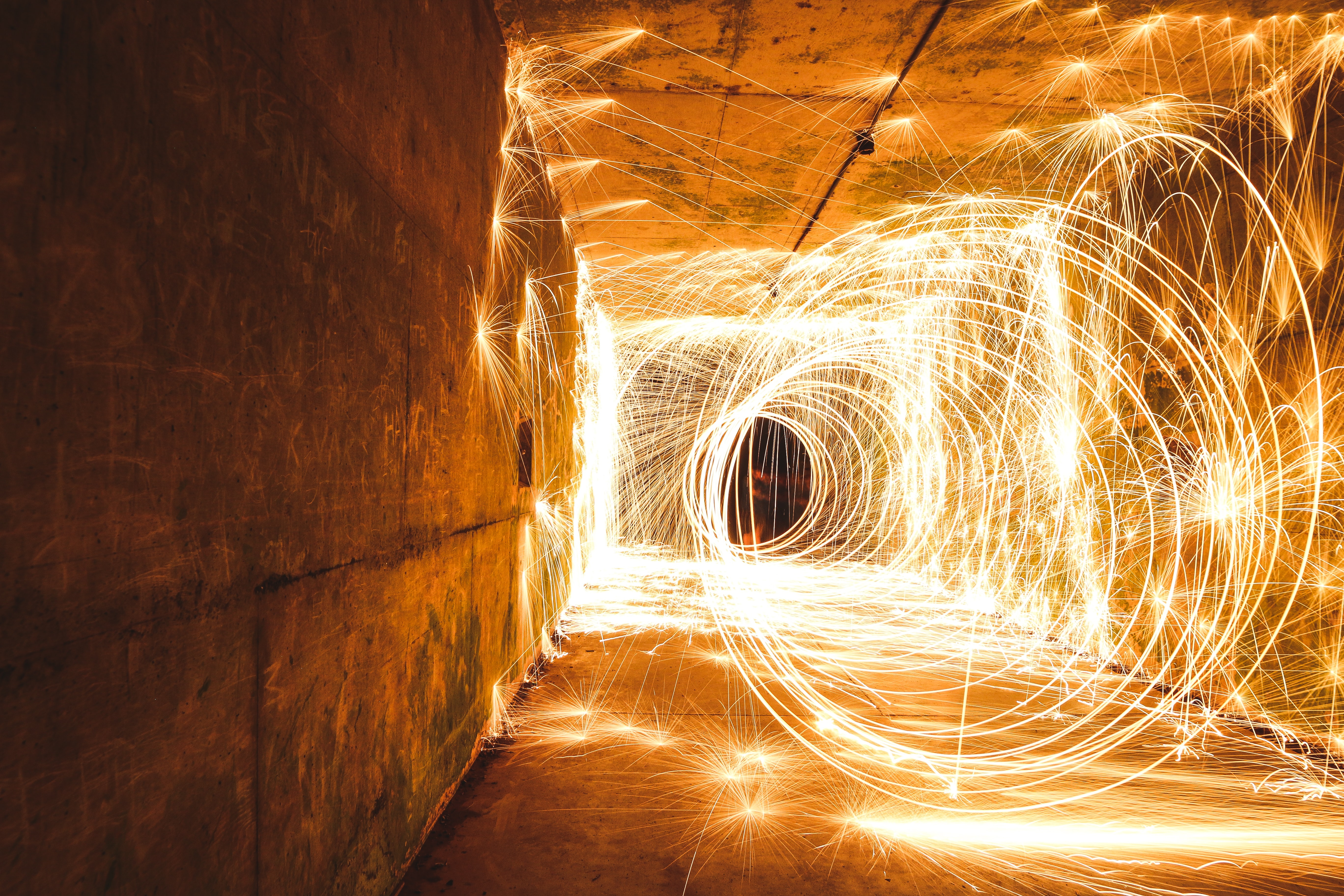 time lapse photography of steel wool