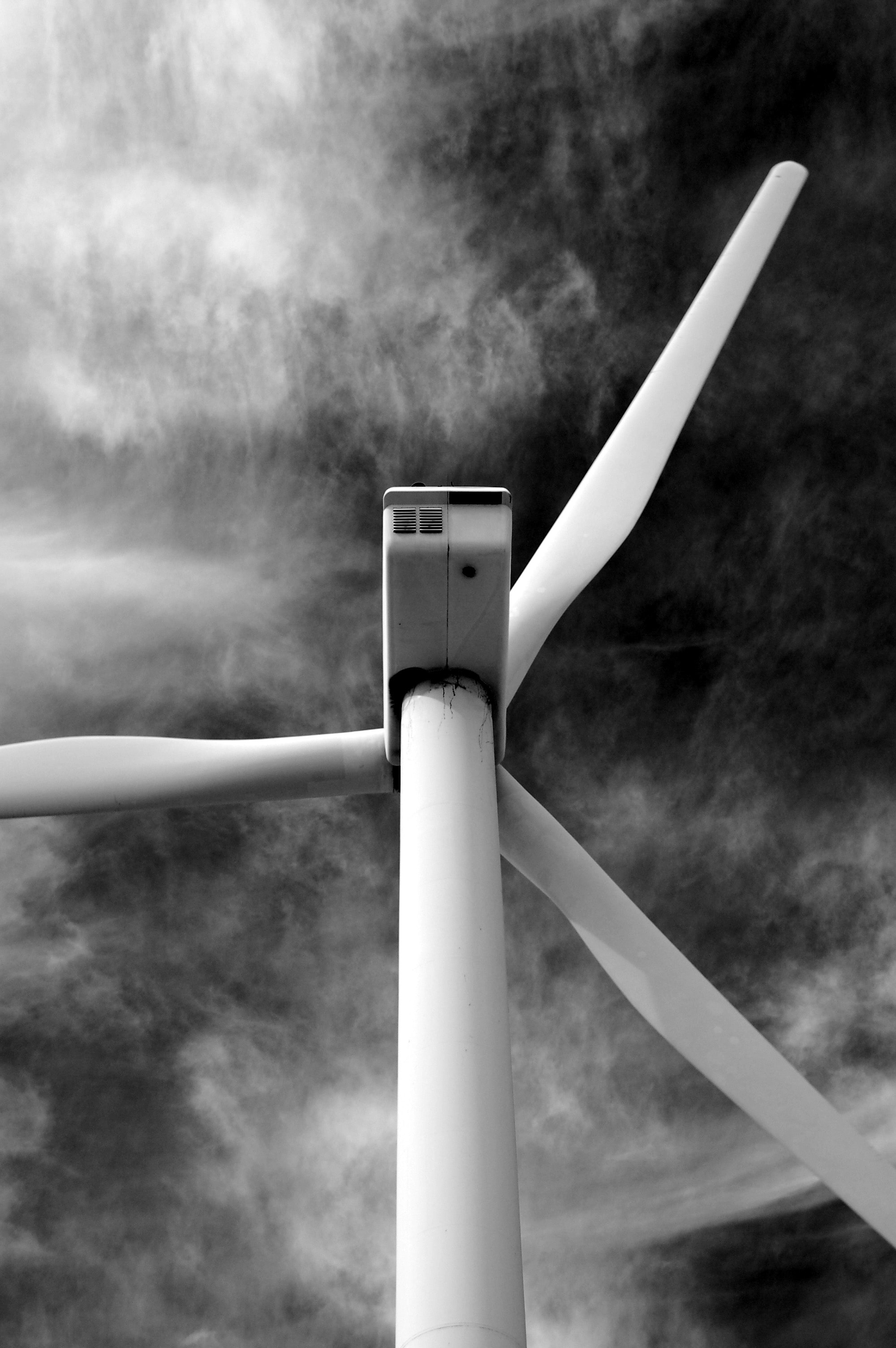 grayscale wind turbine