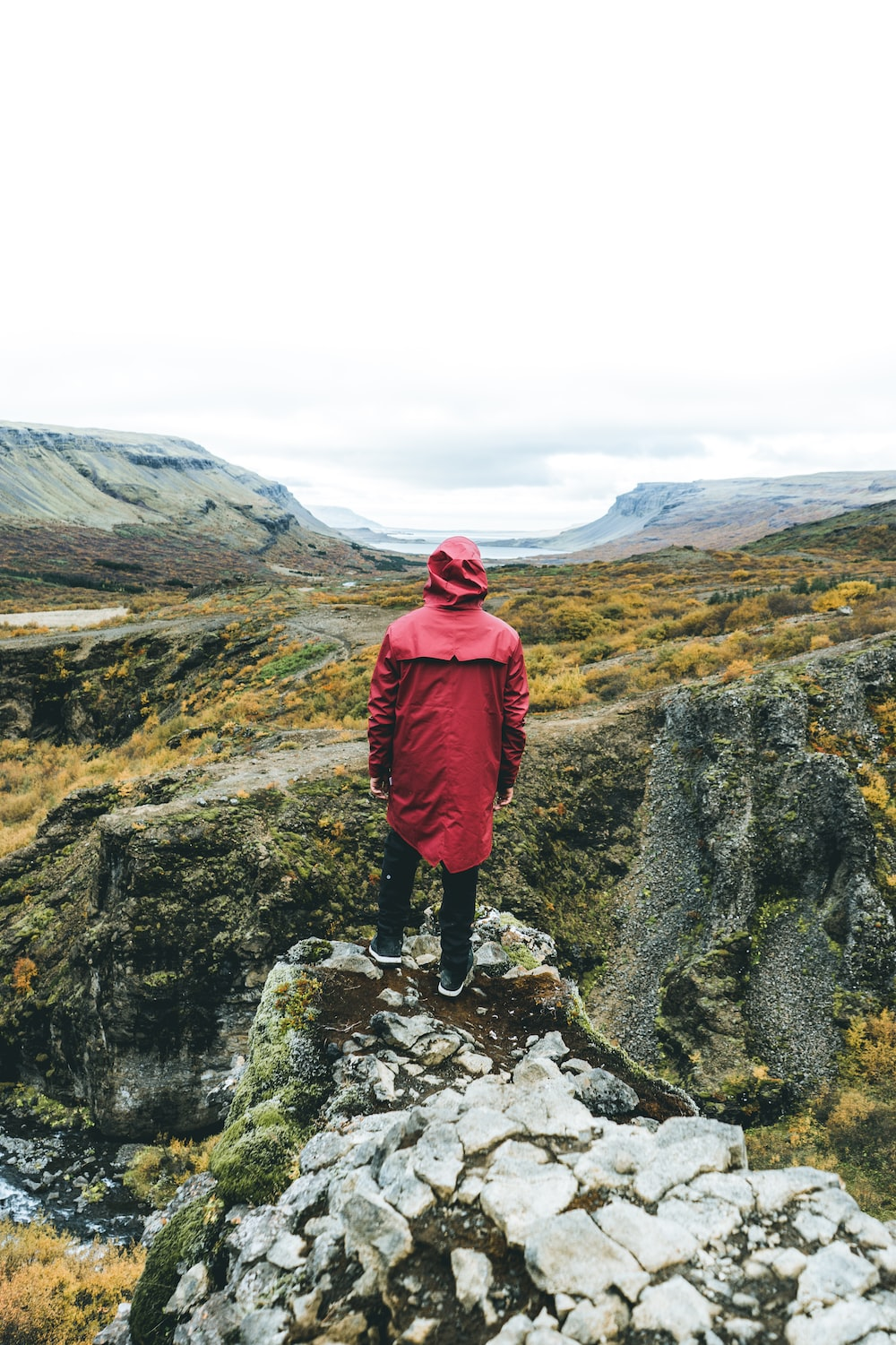man standing wearing red jacket on top of mountain