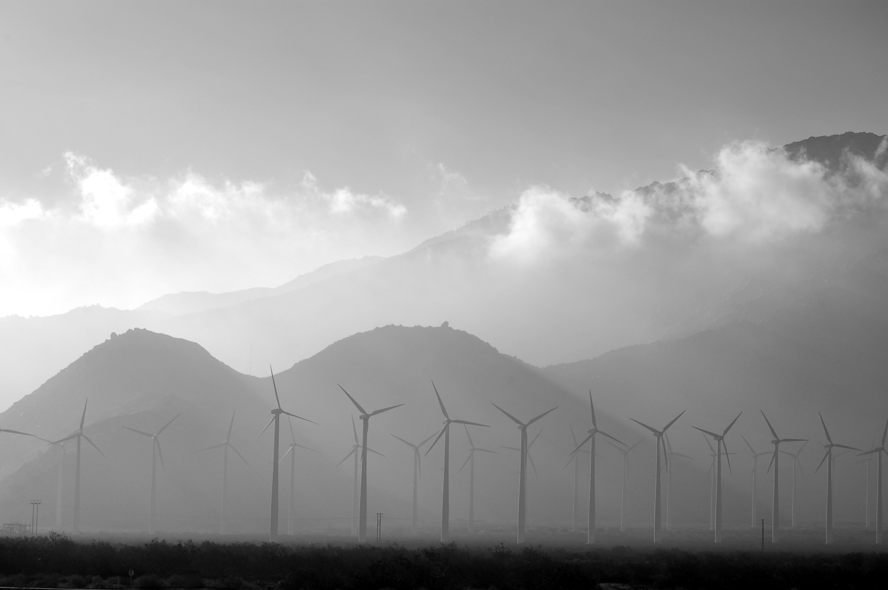 wind turbine near mountains