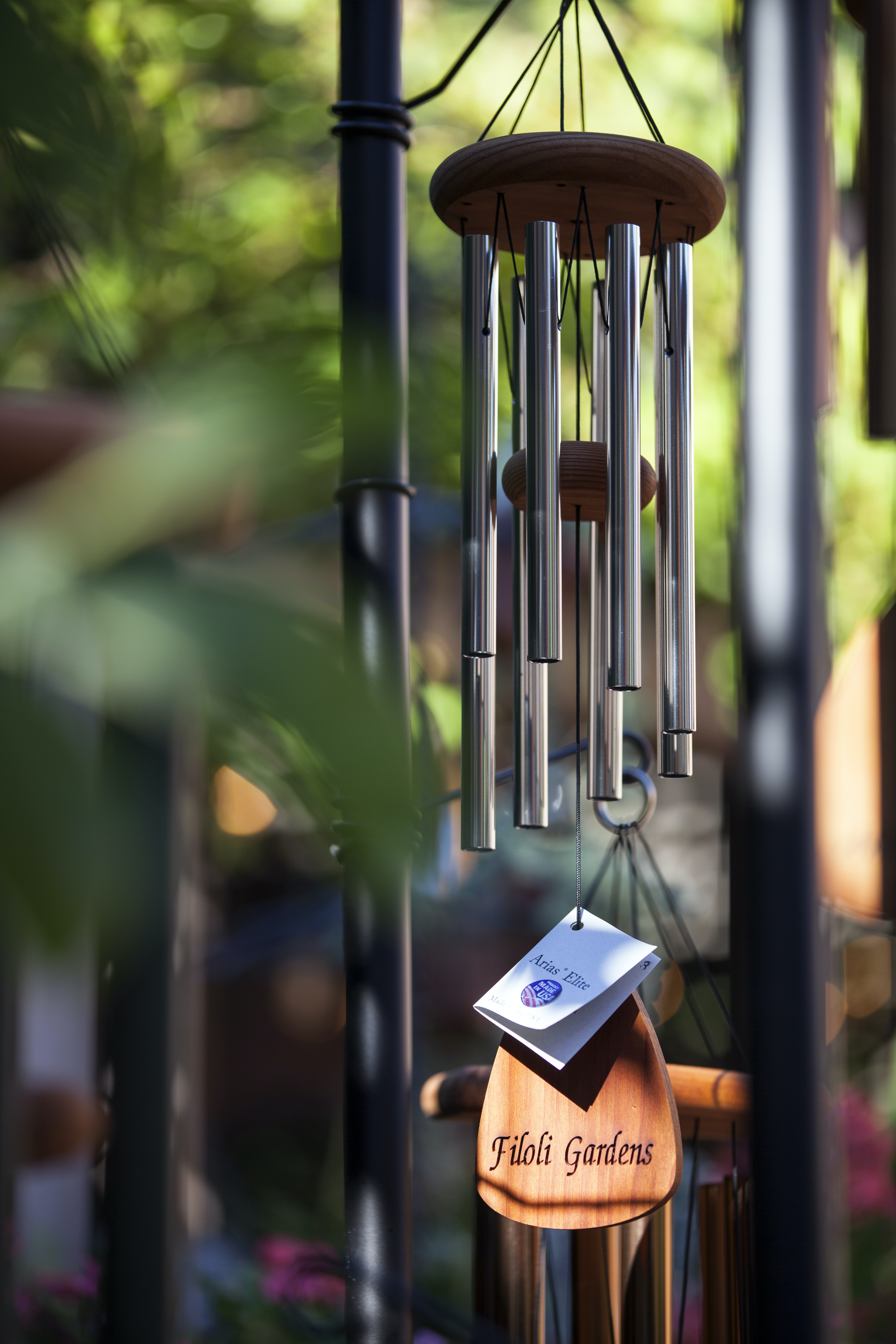 selective focus photography of gray and brown wind chime