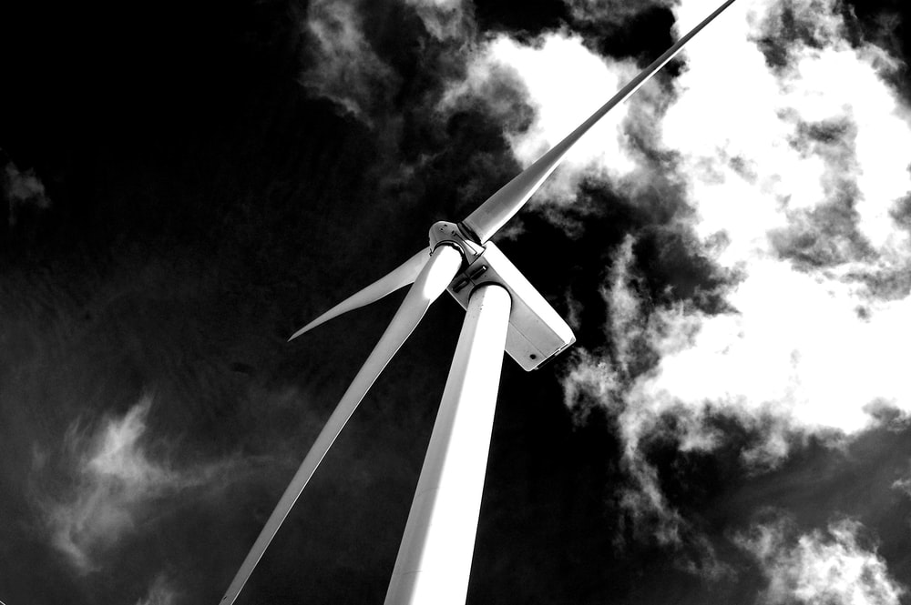 grayscale photography of windmill