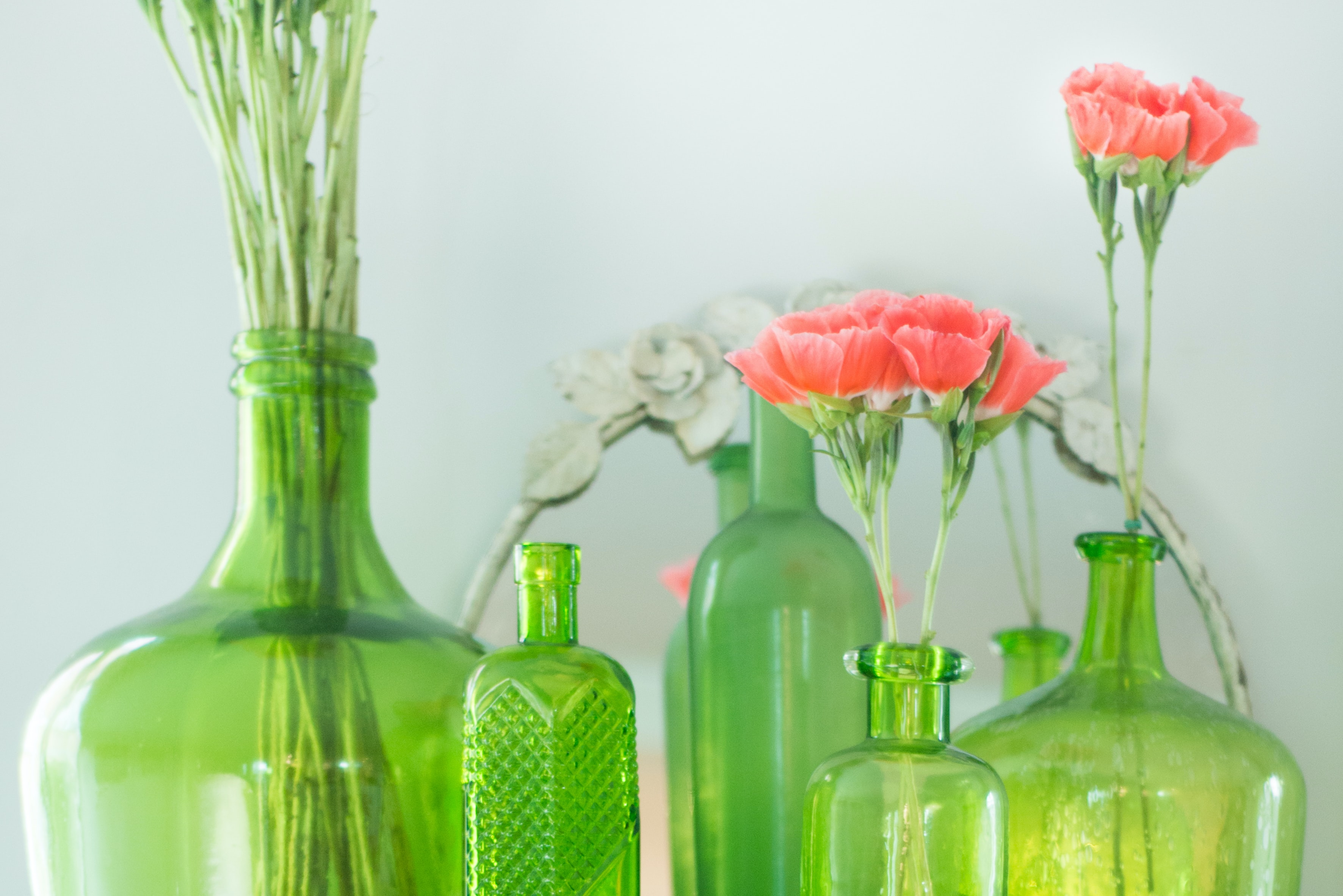 green grass bottles with pink flowers beside white wall