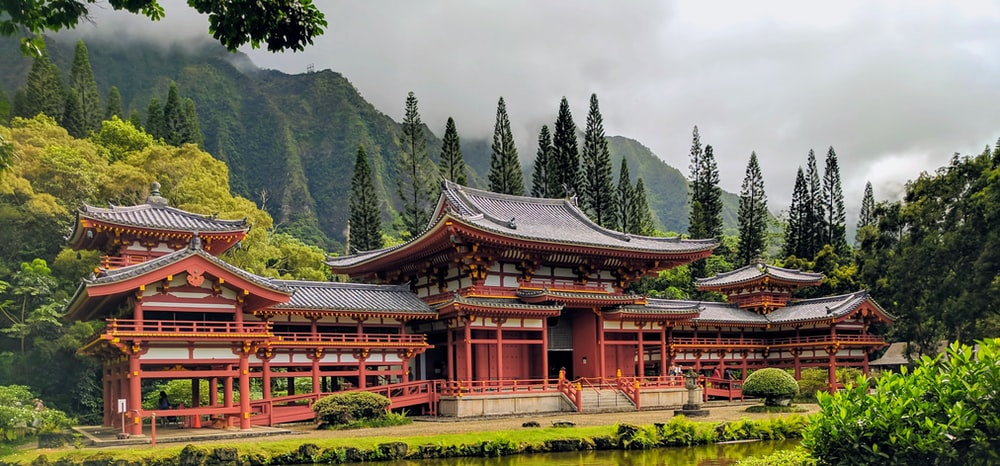 brown wooden pagoda temple surrounded by green trees