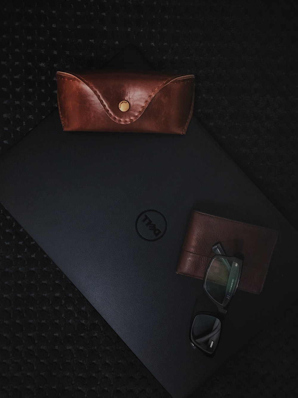 clear eyeglasses on Dell laptop computer