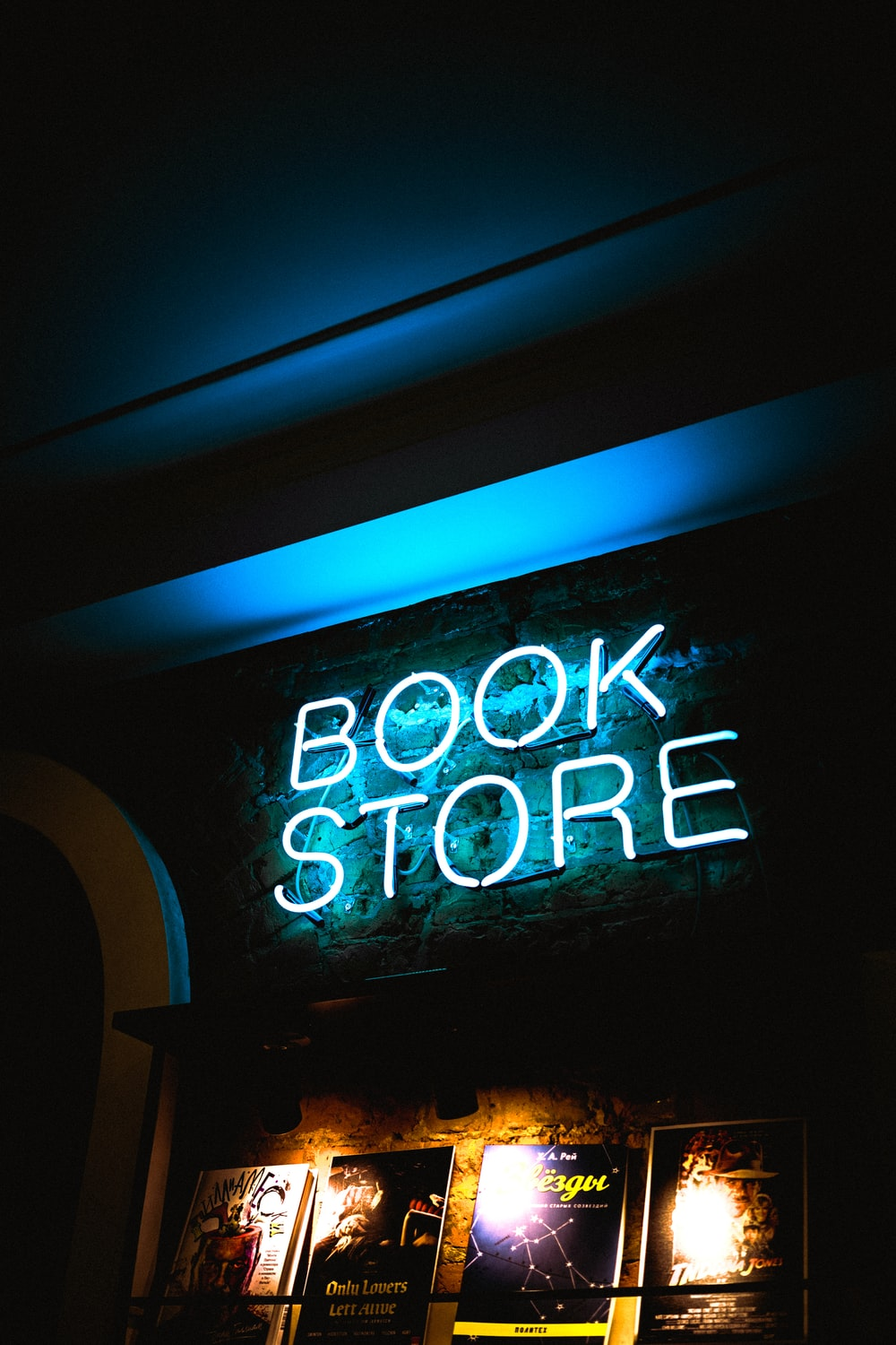 blue Book Store neon signage