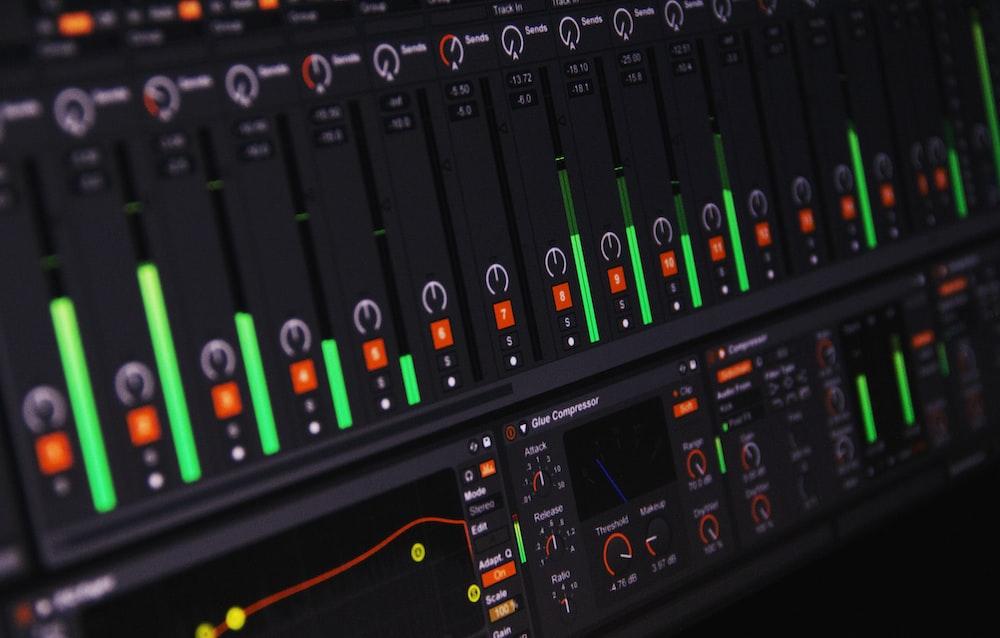 photo of black digital audio mixer