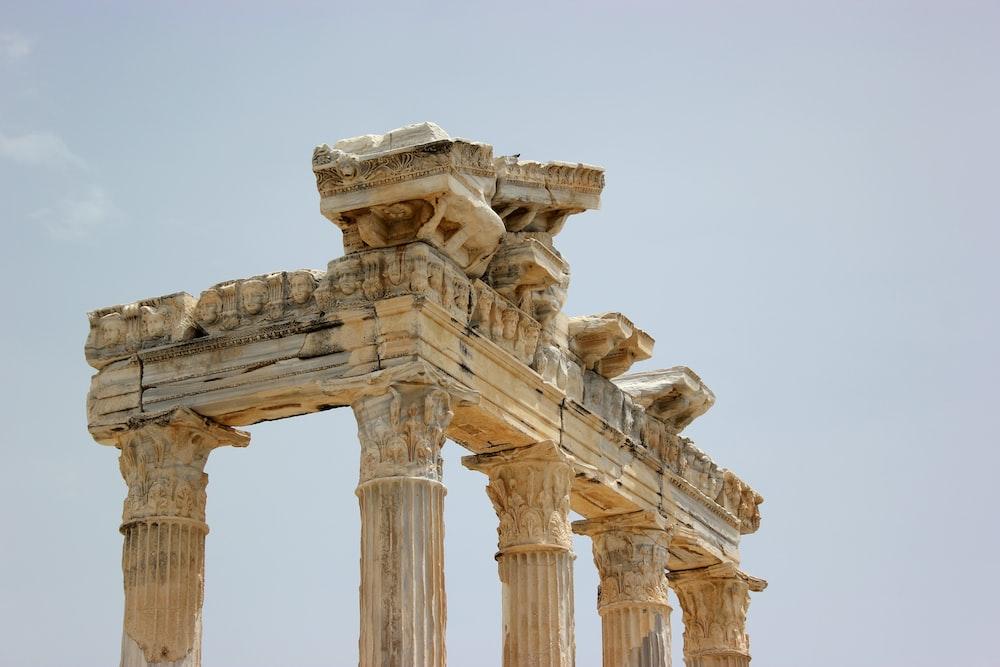 white concrete pillars