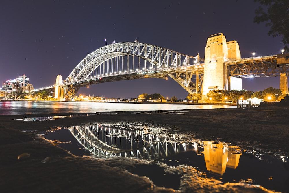reflection photography of bridge