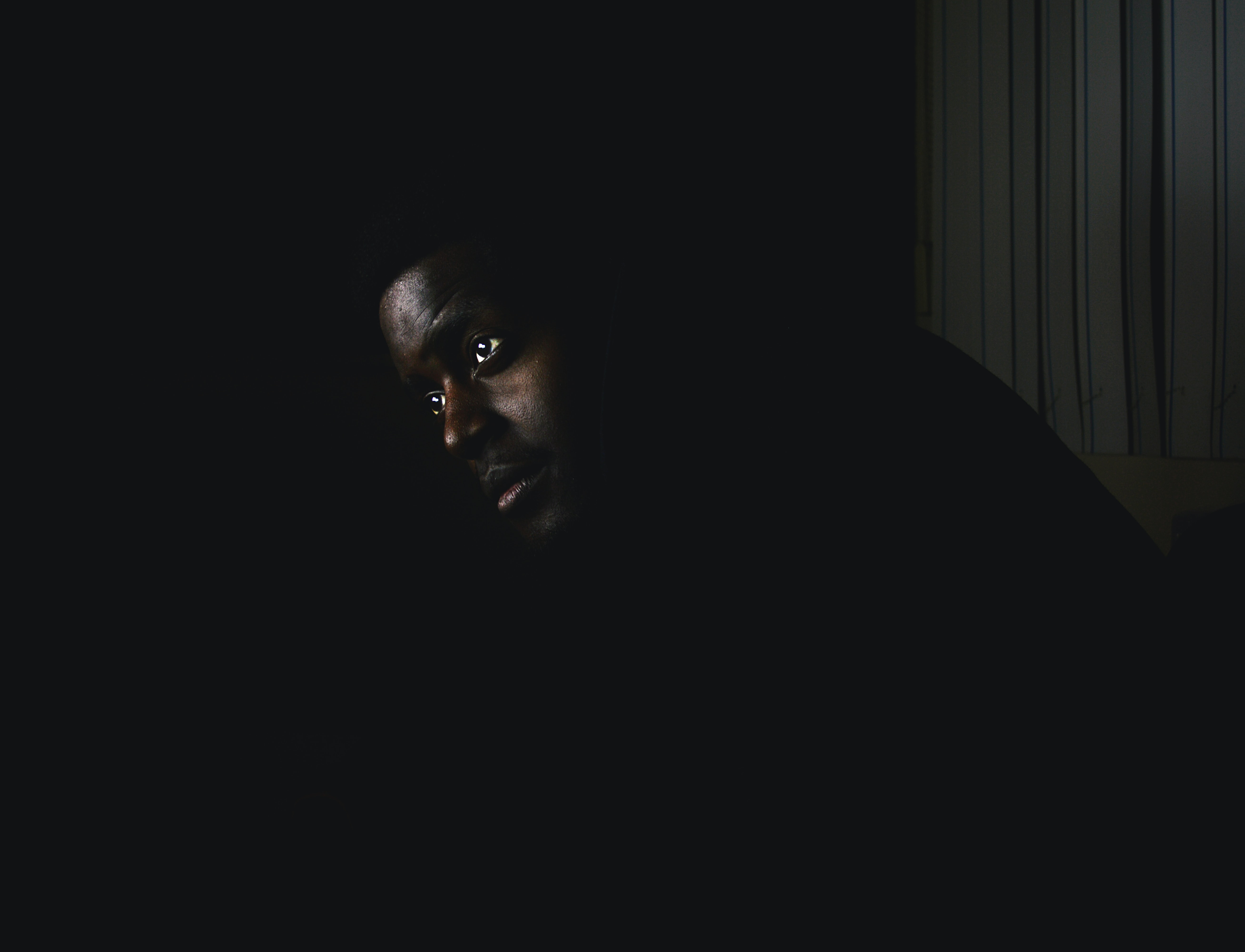man in darkness