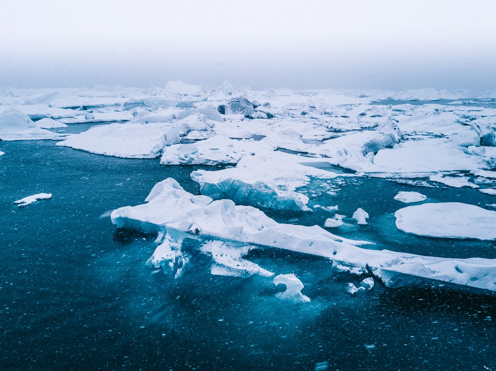 bird's-eye view of icebergs