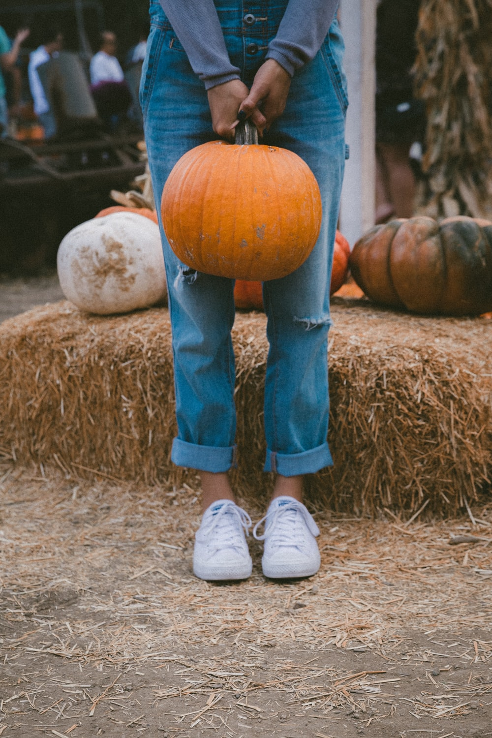 woman carrying pumpkin while standing beside hay
