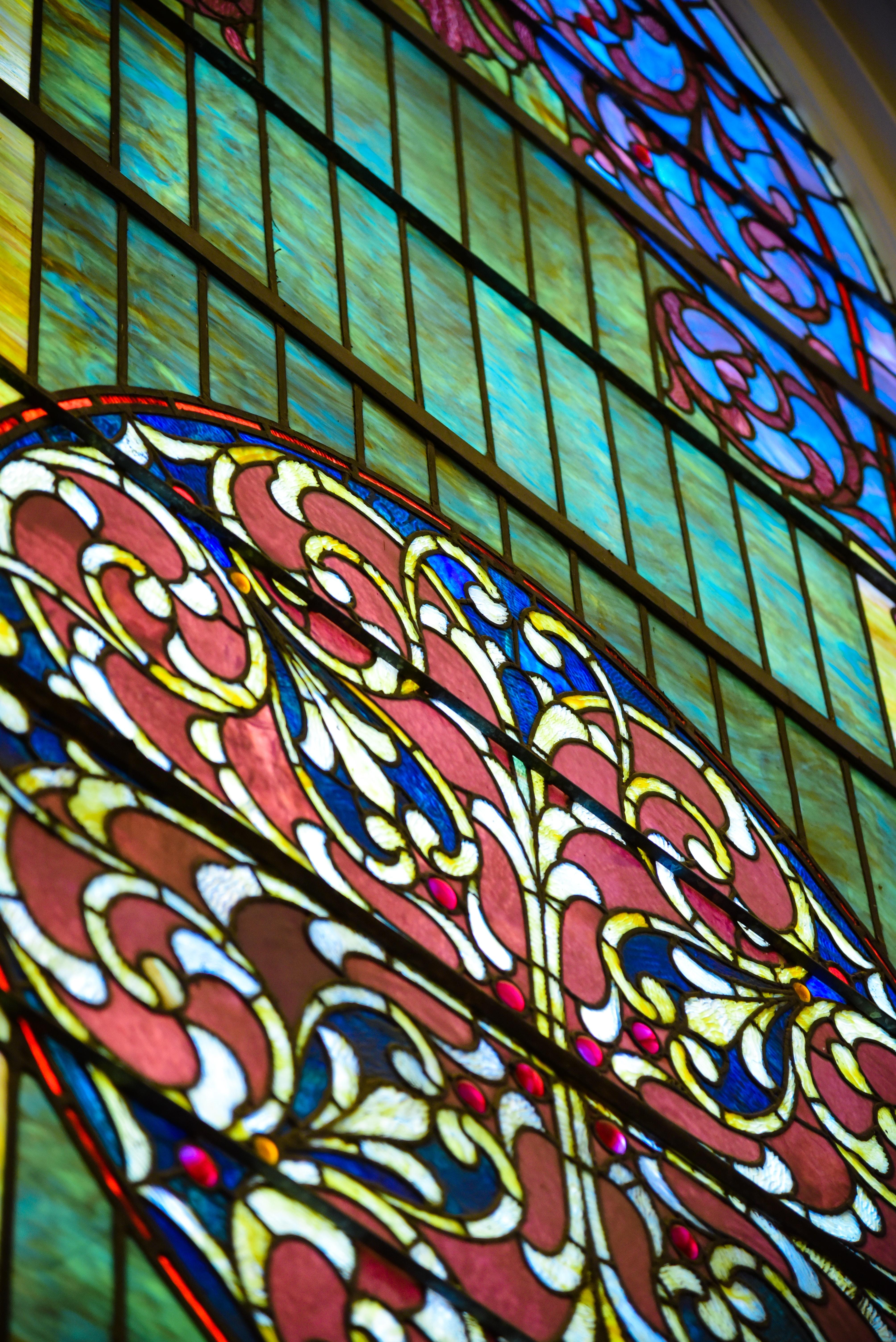 round multicolored glass wall art