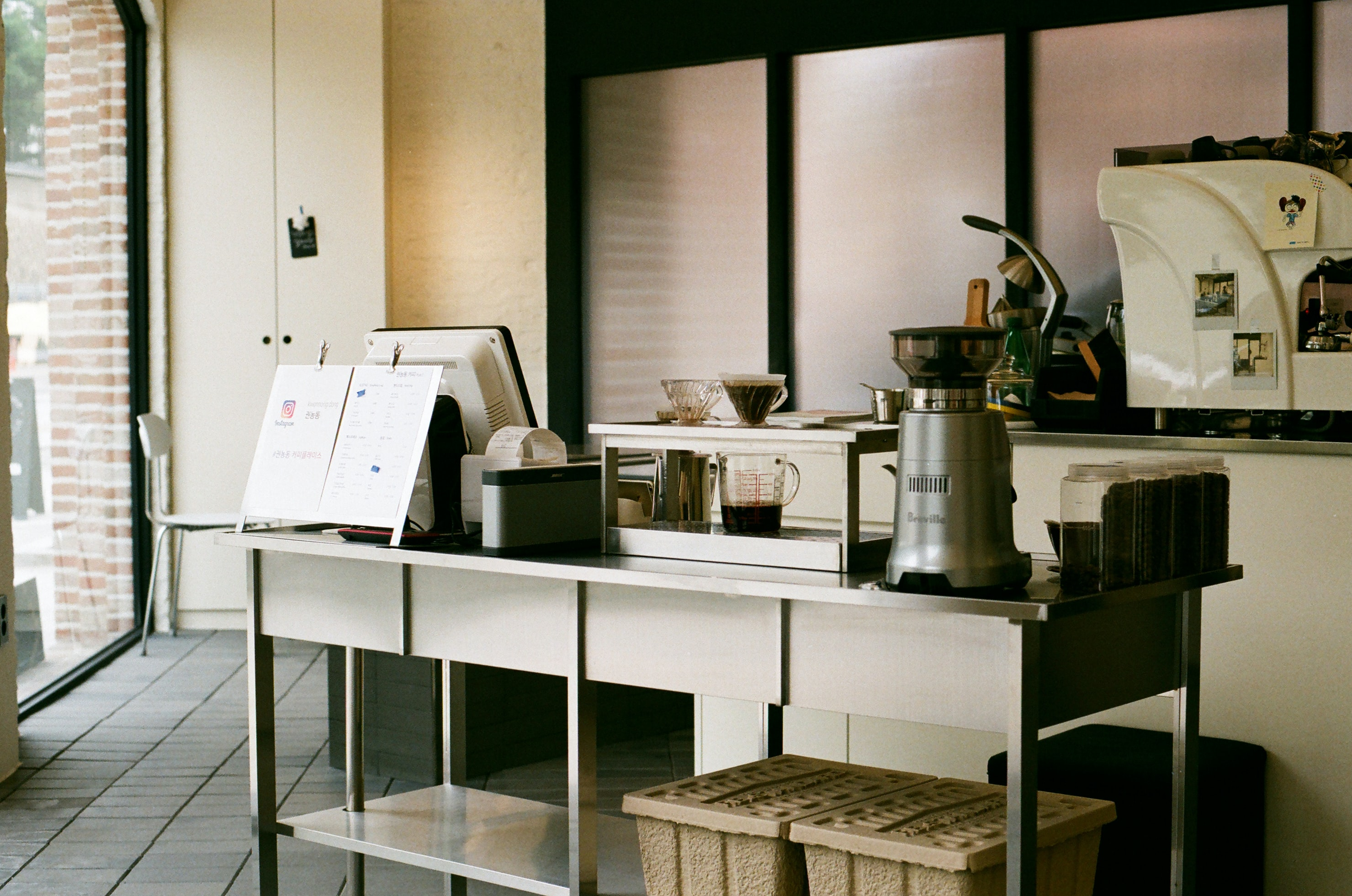stainless steel table with coffeemaker